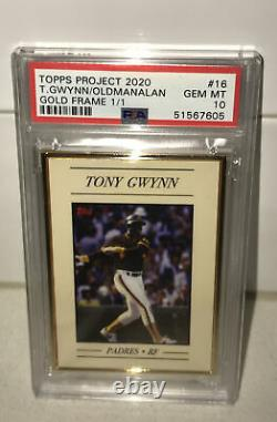 Topps Project 2020 Gold Frame 1/1 #16 1983 Tony Gwynn Par Oldmanalan Psa 10