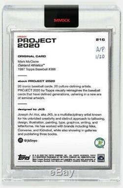 Topps Projet # 216 Par 2 020 Jk5 # 20 Artiste Argent Frame Proof Mark Mcgwire