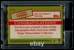 Topps Transcendent Auto Patch Gold Frame 2020 #ap-gt Gleyber Torres Yankees 1/1