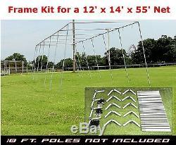Trapèze Batting Cage Kit Frame 12' X 14' X 55' Heavy Duty Baseball / Softball