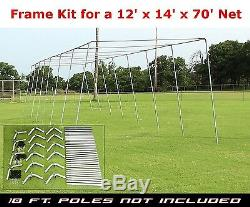 Trapèze Batting Cage Kit Frame 12' X 14' X 70' Heavy Duty Baseball / Softball