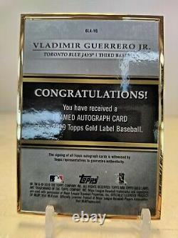 Vladimir Guerrero Jr. Auto 2019 Topps Gold Label Framed On Card Blue Jays Rookie