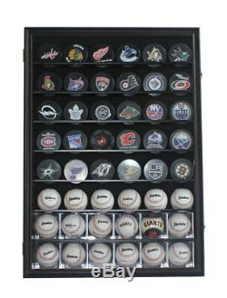 Wall Display Case Cabinet 48 Tenir Baseball, Cubes, Hockey Pucks