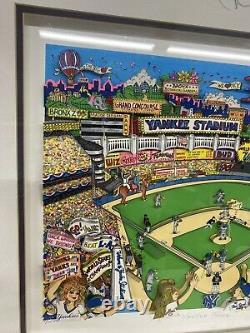 Yankee Fever Par Charles Fazzino 3d Encadré Nyc Baseball Autographié Ap /25 Art